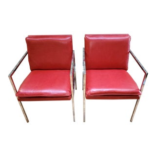 Mid Century Modern Milo Baughman Side Chairs Newly Upholstered - Pair For Sale