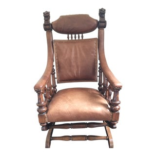 Late 19th Century George Hunzinger Leather & Oak Platform Rocking Chair For Sale