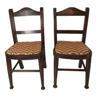 Mid-Century Modern Wooden Doll Chairs - a Pair For Sale