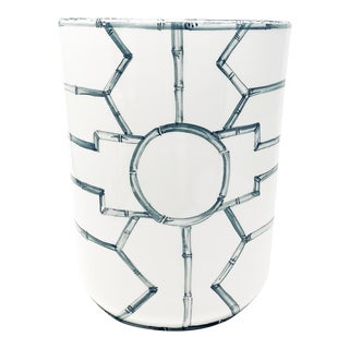 Bamboo Fret Wastebasket in Graphite For Sale