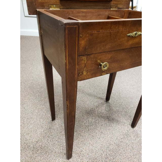 Wood Antique 19th Century Inlaid Wooden Dressing/Vanity Table For Sale - Image 7 of 13