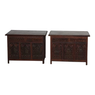 Indian Hand Carved End Tables - a Pair For Sale