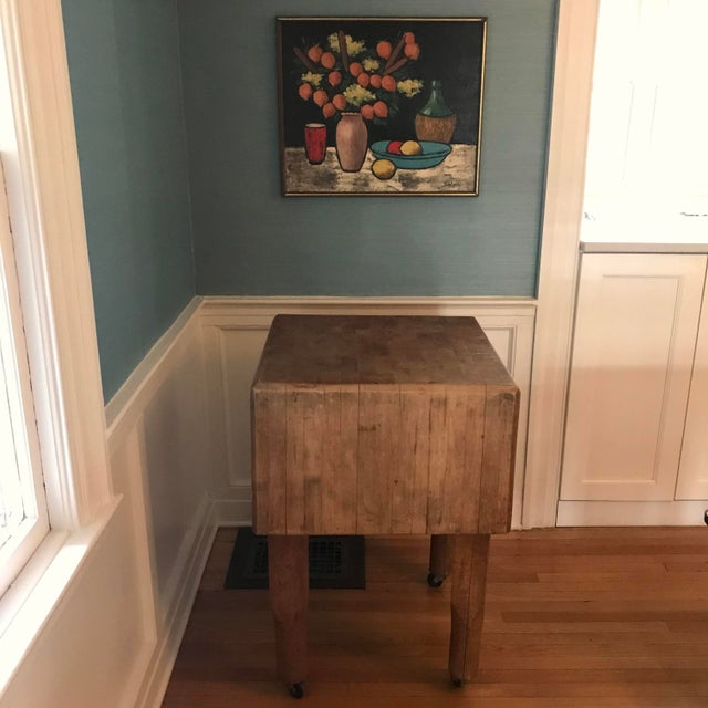"""Solid wooden butchers block, beautifully crafted. Block measures 24"""" square and 15"""" thick. On casters for easy movement...."""