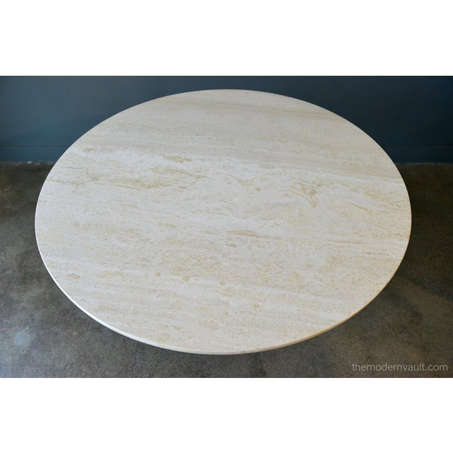 Brown Brown Saltman Travertine and Sculpted Walnut Dining or Bistro Table, Circa 1970 For Sale - Image 8 of 9