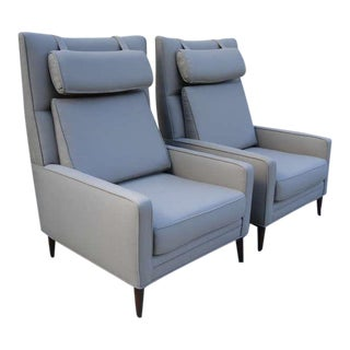 Pair of Paul McCobb Oversized Architectural Armchairs For Sale