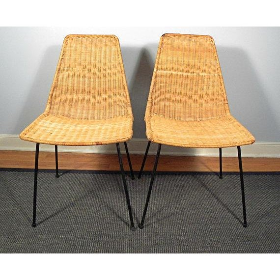 Vintage Mid-Century Modern Wicker Chair With Iron Legs - Pair - Image 4 of 8