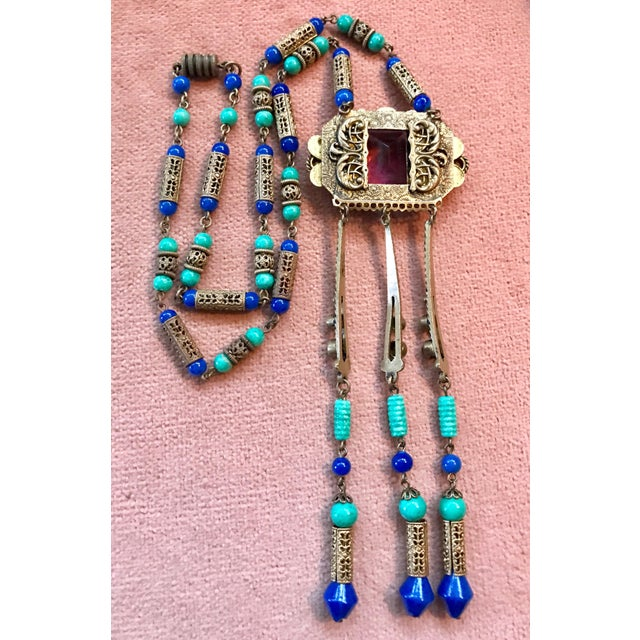 Egyptian Revival 1920s Czech Egyptian Revival Pendant Necklace For Sale - Image 3 of 6