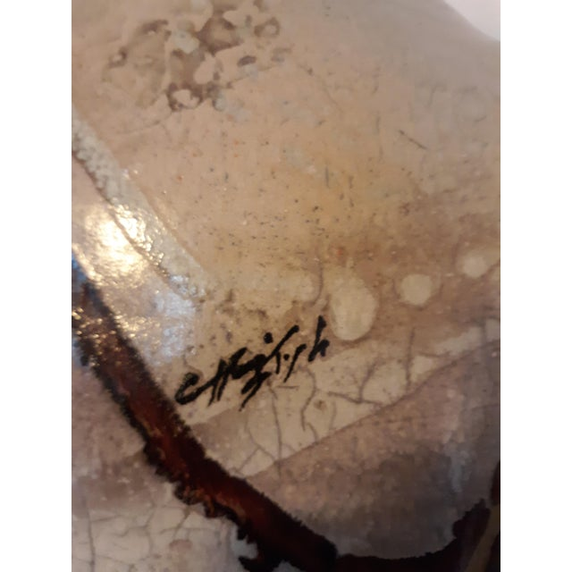 1980s Artist Signed Raku Style 1980s Ceramic Lamp With Shade For Sale - Image 5 of 12