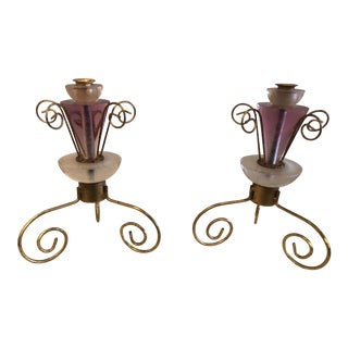 1990s Art Deco Style Lucite and Gilt Metal Candlesticks - a Pair For Sale