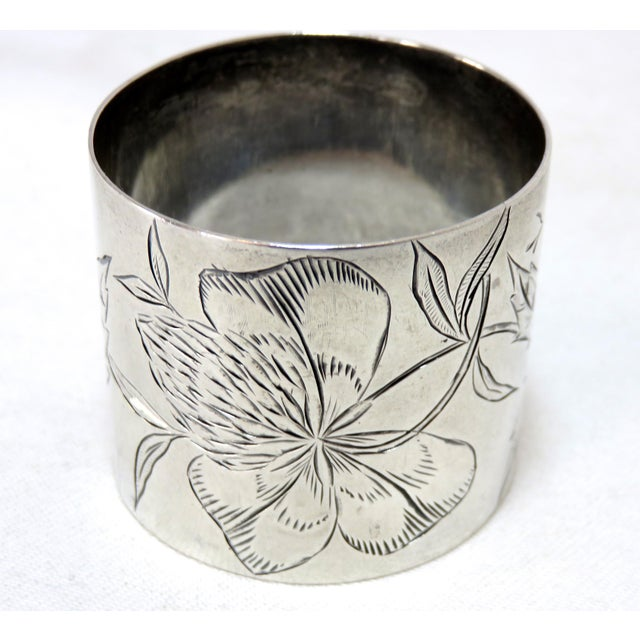 Traditional 19th Century Antique Sterling Silver Napkin Ring For Sale - Image 3 of 5