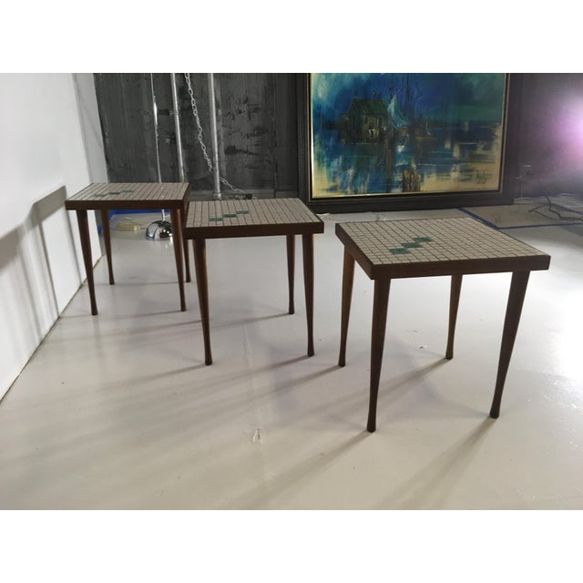 Mid-Century Tile Top Walnut Stacking Tables - Image 4 of 10