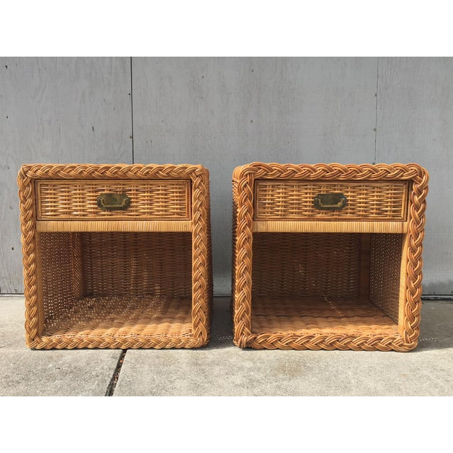 Wicker 1970s Wicker Works Rattan Campaign Style Nightstands-a Pair For Sale - Image 7 of 7