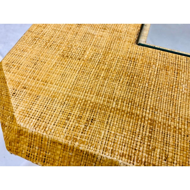 Vintage Grasscloth Wrapped Coffee Table For Sale - Image 9 of 10