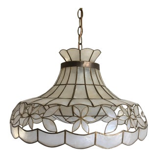 1960s Scalloped Capiz Parasol Light For Sale