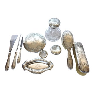 Late 19th-Century Antique Sterling Silver Vanity Set by Gorham - 10 Pieces For Sale