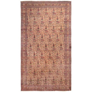 Antique Kerman Lavar Purple and Red Wool Rug with Floral Patterns For Sale