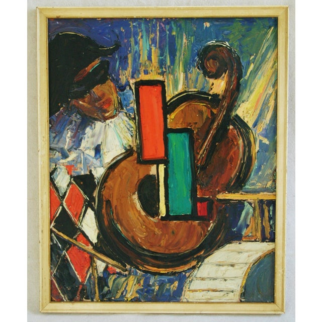 Mid-century, 1950s-era oil on artist board abstract with Harlequin playing the cello. Unsigned. Displayed in original wood...