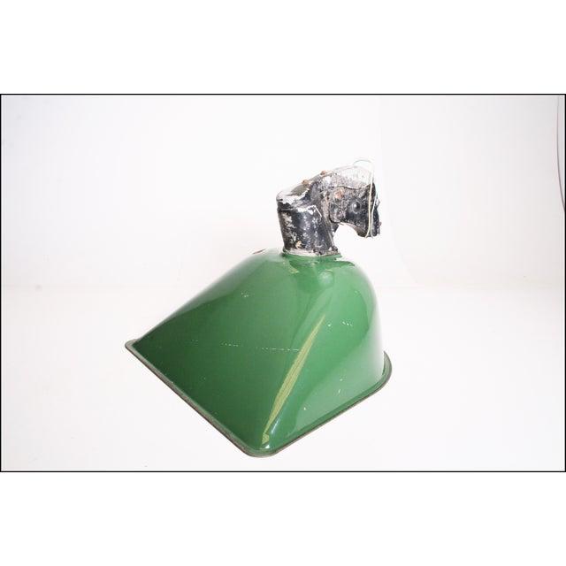 Vintage Industrial Large Green Enamel Light Fixture with Bracket - Image 2 of 11