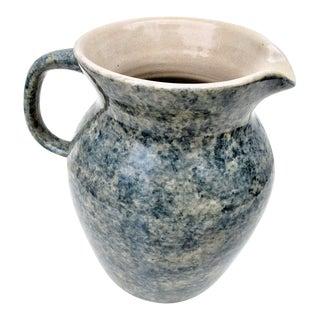 Vintage Blue Spongeware Pottery Pitcher For Sale