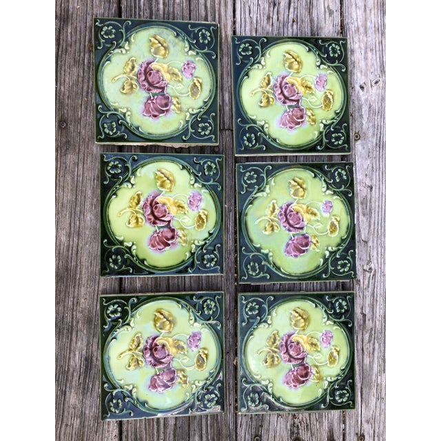 Antique English Art Nouveau/Victorian Era Raised Relief Ceramic Tiles Floral Pattern - Set of 6 For Sale - Image 13 of 13