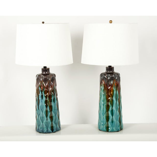 Mid 20th Century Pair of Mid 20th Century Glazed Ceramic Table Lamps For Sale - Image 5 of 5