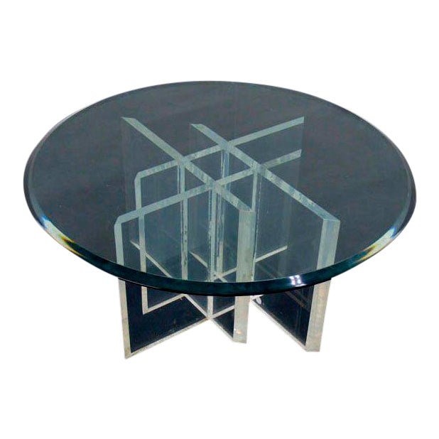 9a0401c84ec8 Superb Lucite Base Glass Top Round Mid Century Modern Coffee Table ...