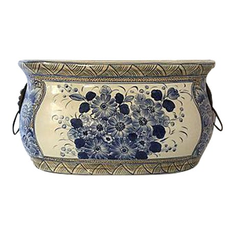 Maitland-Smith Chinoiserie Blue & White Planter For Sale