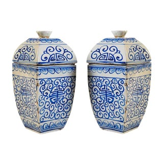 19th Century Chinese Blue & White Urns - a Pair For Sale