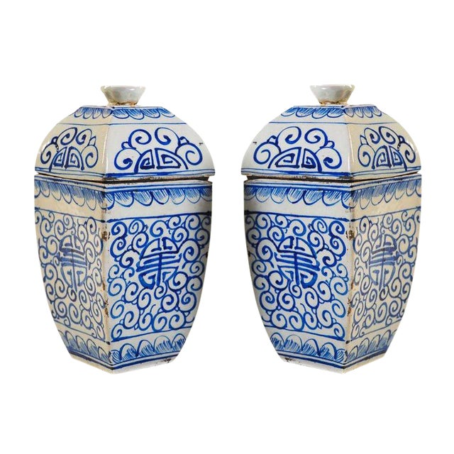 Chinese 19th Century Blue & White Urns - A Pair - Image 1 of 10
