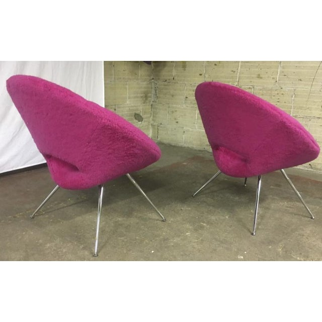 Mid-Century Modern Danish Pair of Flying Saucer Shaped Newly Covered in Pink Wool Faux Fur For Sale - Image 3 of 5