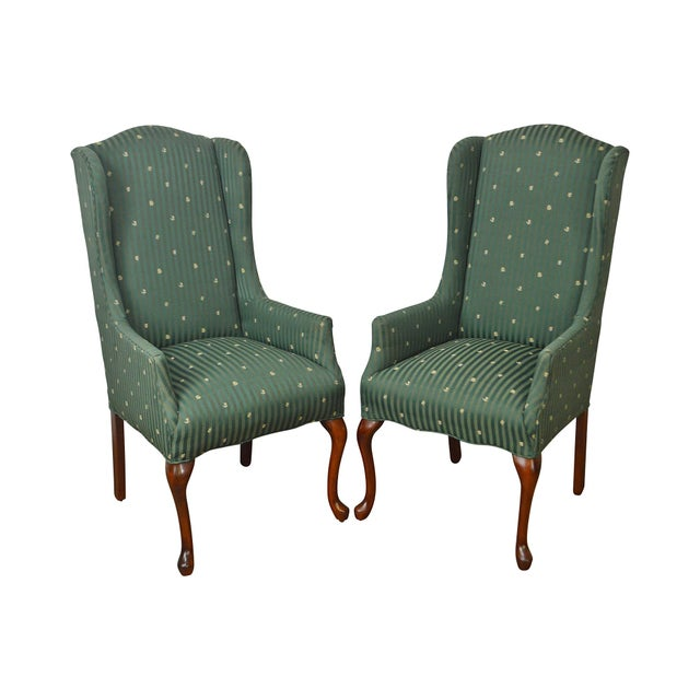 Thomasville Pair of Cherry Queen Anne Host Wing Chairs - Image 13 of 13