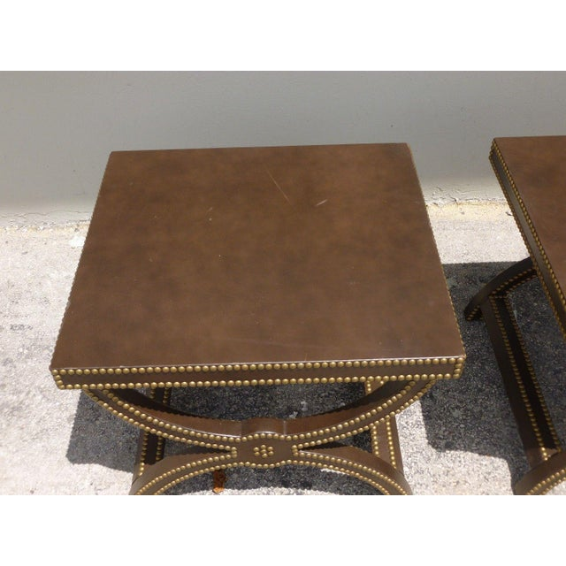 Brown Vintage Post Modern Studded Leather Stretcher Tables- a Pair For Sale - Image 8 of 13