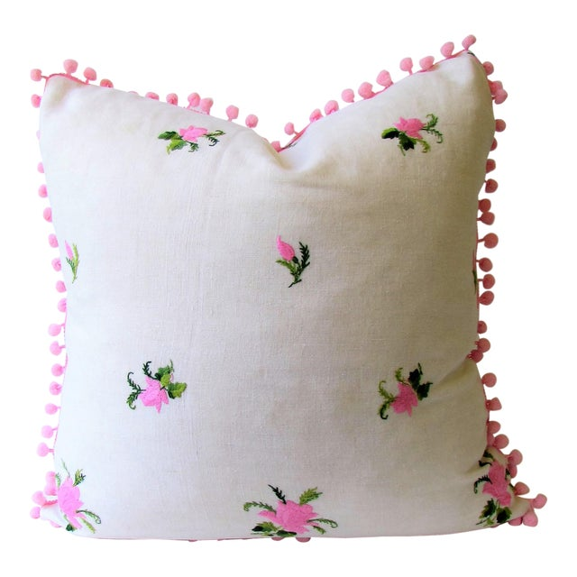 Vintage Pink Rose Embroidery Pillow Cover - Image 1 of 6