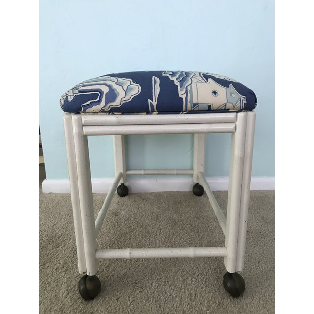 Mid 20th Century Vintage Drexel Faux Bamboo Vanity Stool For Sale - Image 5 of 9