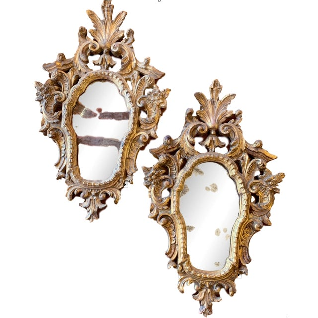 20th Century Italian Rococo Accent Mirrors - a Pair For Sale - Image 13 of 13