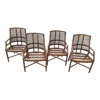 20th Century McGuire Style Rattan Bamboo Cane Dining Chairs-Set of 4 For Sale