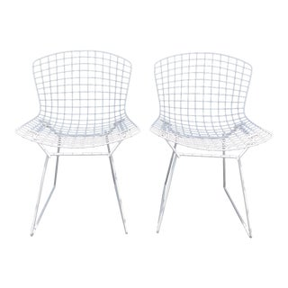 Late 20th Century Vintage White Harry Bertoia Chairs- A Pair For Sale