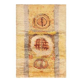 Leena Kaisa Designed Vintage Scandinavian Rya Rug - 3′5″ × 5′1″ For Sale