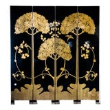 """Image of Japanese Large Four-Panel High-Gloss Cherry Blossom Screen/Room Divider 64"""" W X 72"""" H by Lawrence & Scott For Sale"""