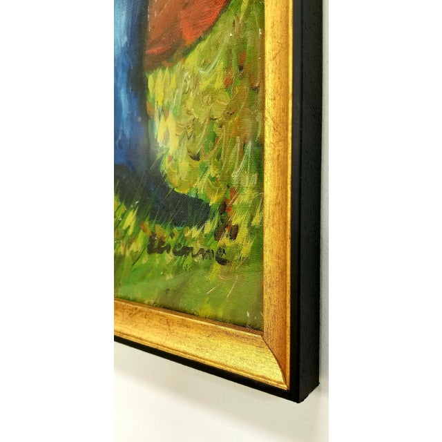 1960s Mid Century Original Oil Painting on Canvas For Sale - Image 9 of 12
