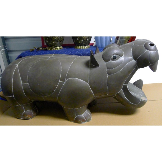 1970s Sergio Bustamante Patchwork Metal Hippo For Sale - Image 5 of 7