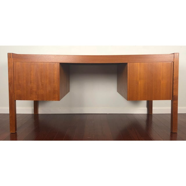 Mid-Century Modern 1960s Mid Century Modern Bent Silberg Teak Tanker Desk For Sale - Image 3 of 12