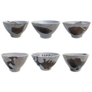 Hand-Thrown Stoneware Soup Bowls - Set of 6 For Sale