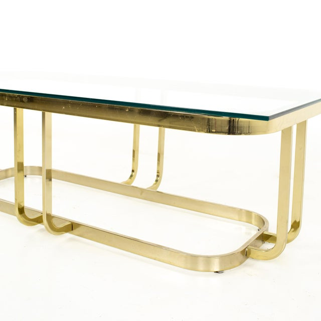Milo Baughman Style Mid Century Brass and Glass Coffee Table For Sale In Chicago - Image 6 of 12