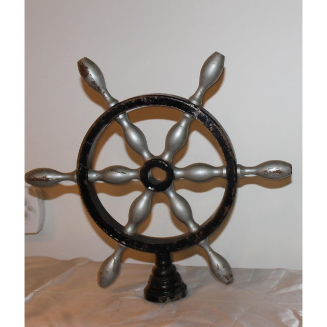 French Vintage French Metal Ship Wheels - a Pair For Sale - Image 3 of 8