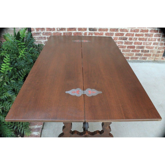 Mediterranean Antique French Spanish Walnut Mission Catalan Dining Table Sofa Table For Sale - Image 3 of 13