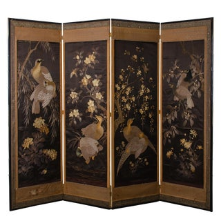 Japanese Embroidered Folding Screen, Meiji Period For Sale