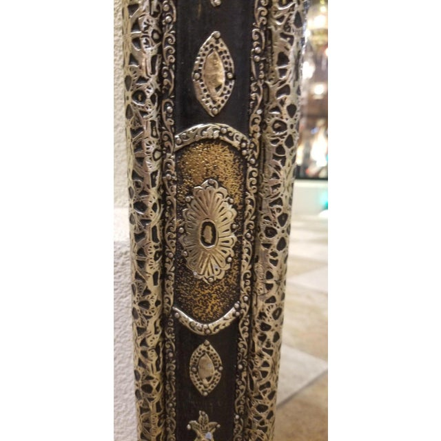 Moroccan Rectangular Metal Inlaid Mirror For Sale - Image 4 of 8
