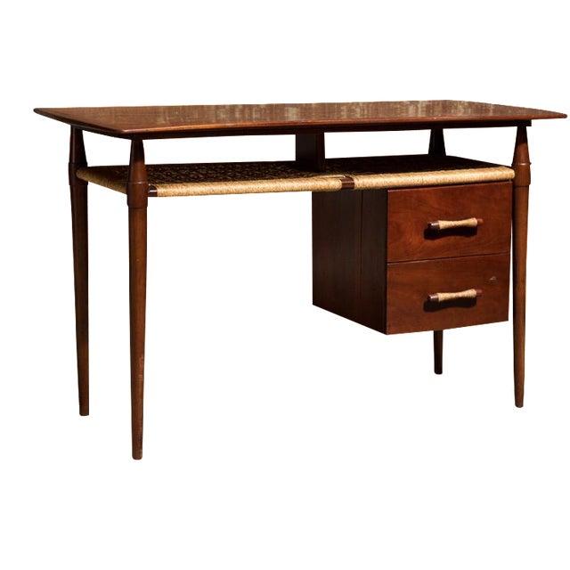Mid-Century Desk with Wicker Shelf - Image 1 of 11