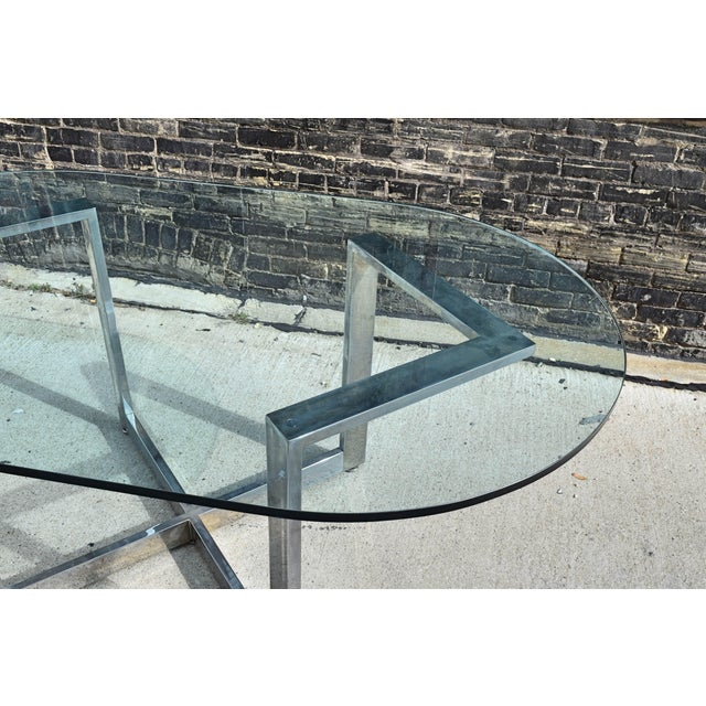 Mid-Century Modern Vintage Chrome Dining Table With Glass Top For Sale - Image 3 of 8